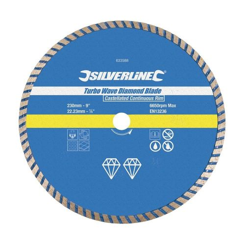 Silverline 633588 Turbo Wave Diamond Blade Disc 230mm x 22.23mm Castellated Continuous Rim